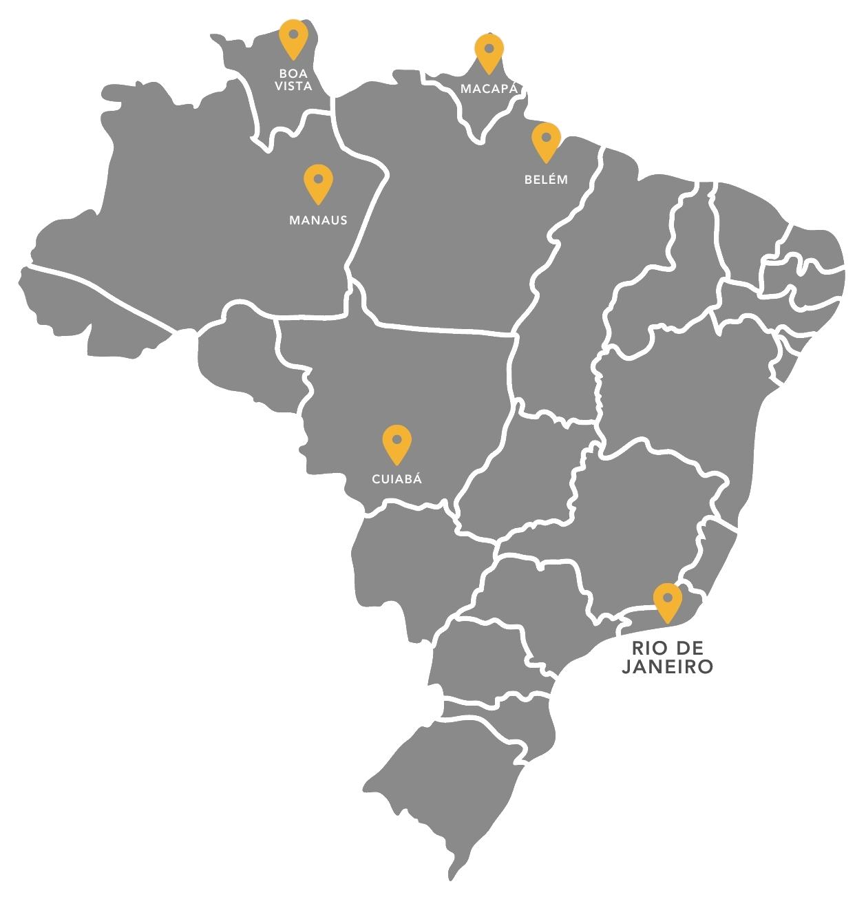 Mapa atuação MLA - Miranda Lima Advogados